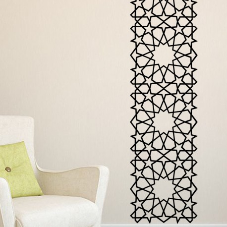 Stickers arabesque oriental toiles carr es pas cher for Pochoir mural design