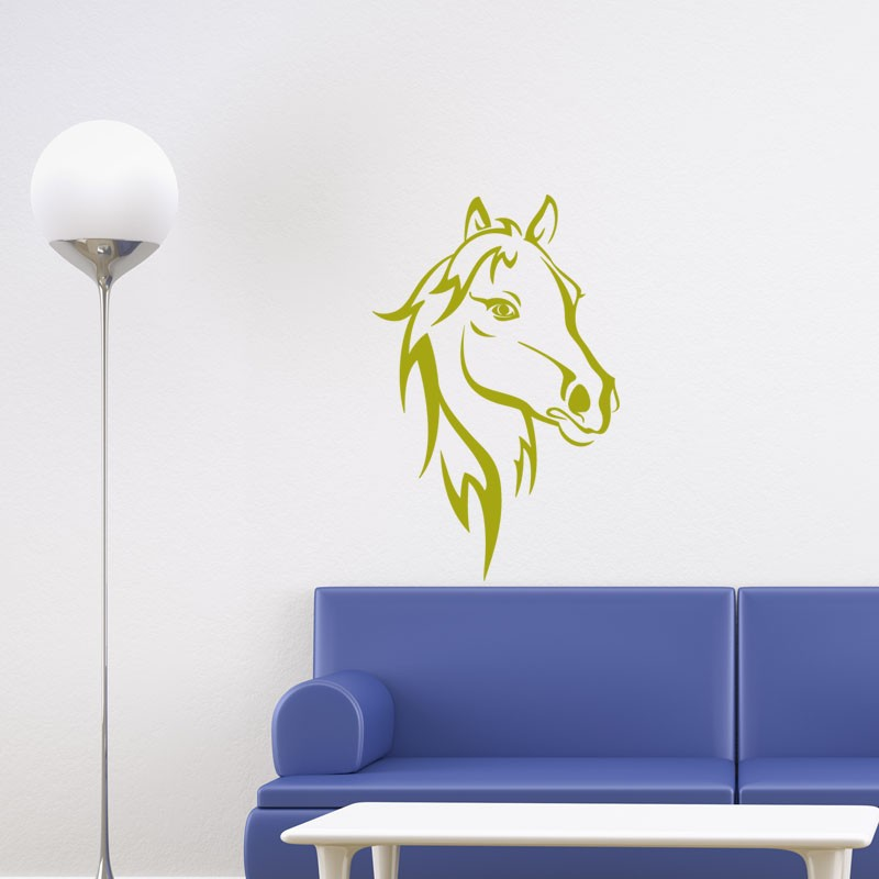sticker t te de cheval pas cher stickers animaux discount stickers muraux madeco stickers. Black Bedroom Furniture Sets. Home Design Ideas