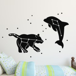 Sticker ours et dauphin