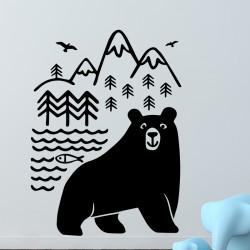 Sticker ours, forêt, rivière et montagnes
