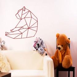 Sticker ours assi en forme géométrique
