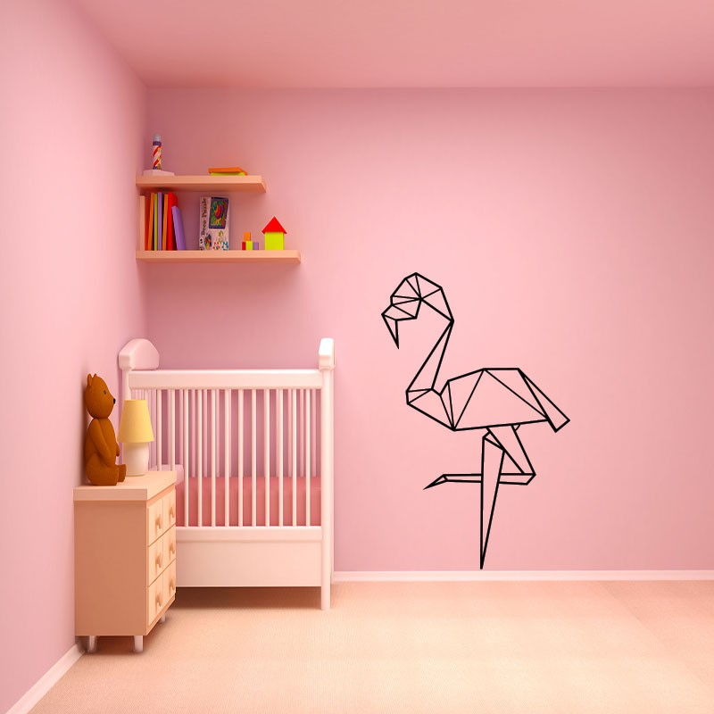 sticker flamant rose en origami pas cher stickers. Black Bedroom Furniture Sets. Home Design Ideas