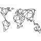 Sticker carte du monde en forme géométrique