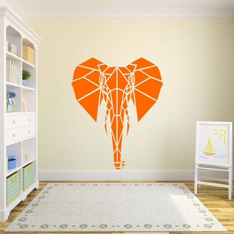 Sticker t te d 39 l phant en origami pas cher stickers enfants discount stickers muraux - Tete d elephant mural ...