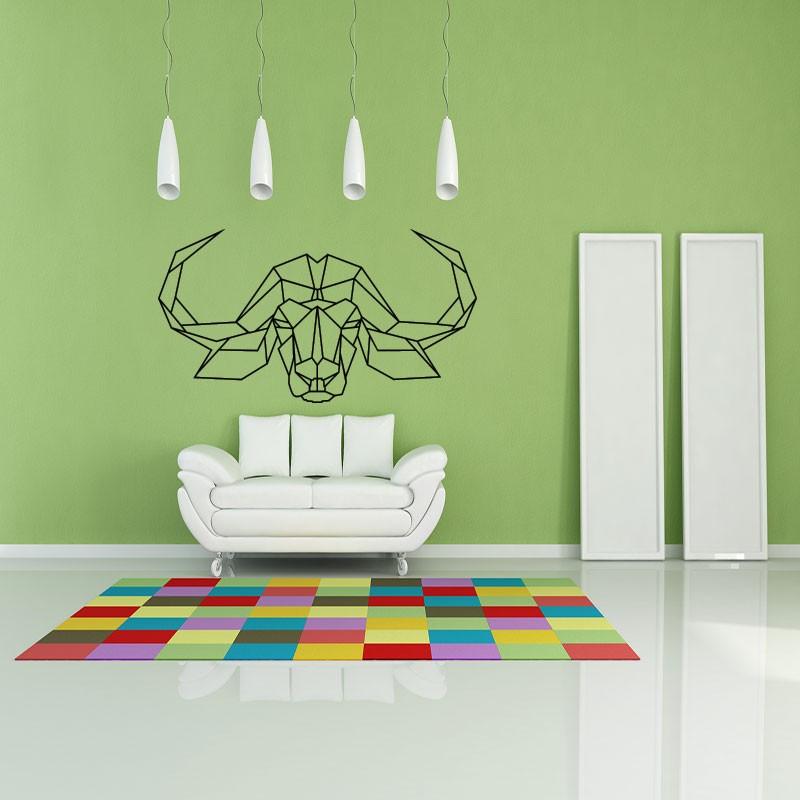 sticker t te de buffle en origami pas cher stickers design discount stickers muraux madeco. Black Bedroom Furniture Sets. Home Design Ideas