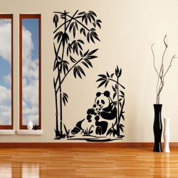 Sticker maman et bébé panda et bambous 2