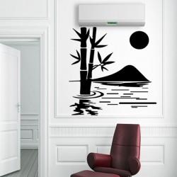 Sticker soleil, montagne et bambou dans l'eau