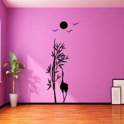 Sticker soleil, oiseaux et bambou