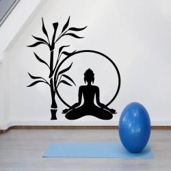 Sticker bambou et femme en méditation