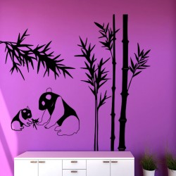 Sticker maman et bébé pandas et bambous