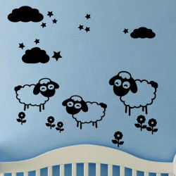 Sticker petits moutons et des étoiles