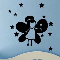 Sticker jolie fée avec des étoiles