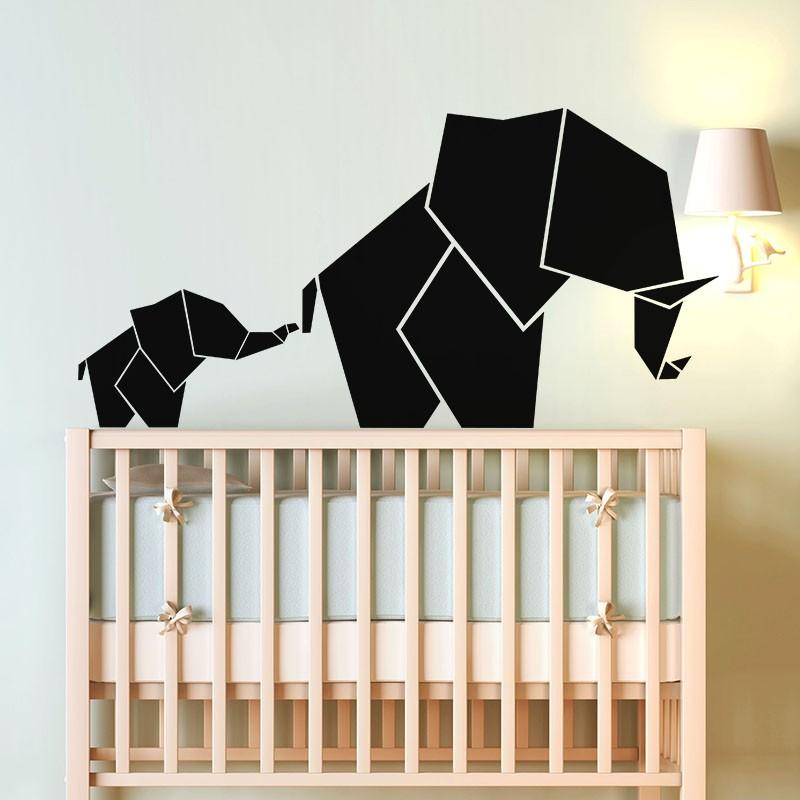 sticker b b et maman l phant en origami pas cher stickers enfants discount stickers muraux. Black Bedroom Furniture Sets. Home Design Ideas