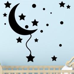 Sticker croissant de lune et des étoiles