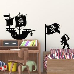 Sticker navire, drapeau et pirate
