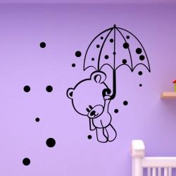 Sticker petit ours avec un parapluie