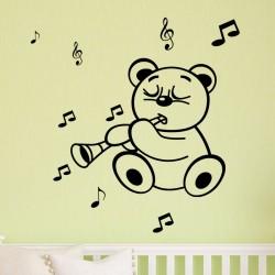 Sticker petit ours musicien