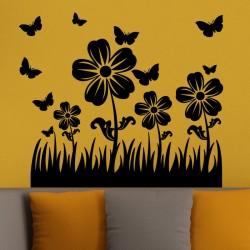 Sticker petits papillons et jolies fleurs