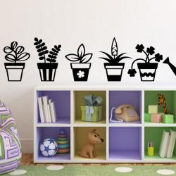 Sticker fleurs en pots