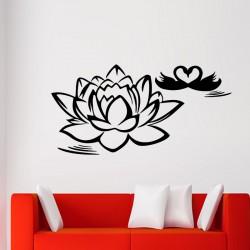 Sticker lotus et cygnes en coeur