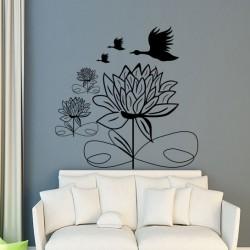 Sticker fleurs et cygnes volant