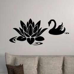 Sticker cygne et fleur de lotus