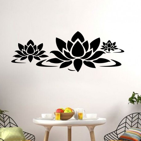 sticker fleur de lotus sur l 39 eau pas cher stickers nature discount stickers muraux madeco. Black Bedroom Furniture Sets. Home Design Ideas
