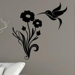 Sticker colibri et fleurs au longues tiges