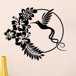 Sticker design hibiscus en cercle et colibri