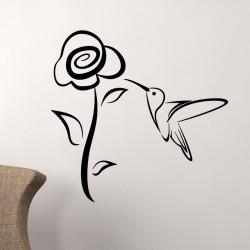 Sticker grande fleur et petit oiseau