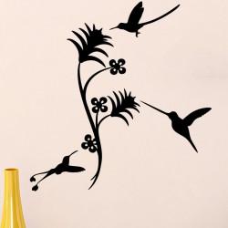 Sticker 3 petits oiseaux et jolies fleurs
