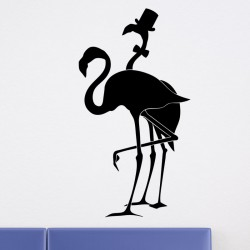 Sticker couple de flamants roses