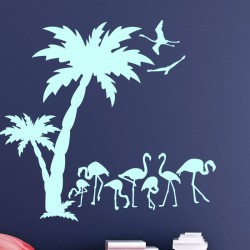 Sticker flamants roses et cocotiers