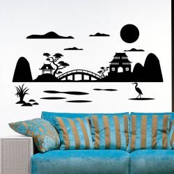 Sticker joli paysage Japonais
