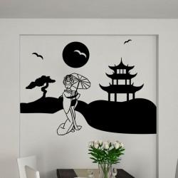 Sticker design femme japonaise et joli paysage