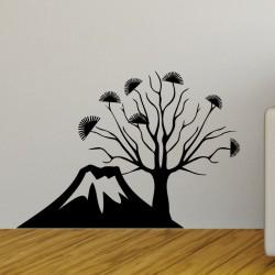 Sticker vue sur montagne volcanique et arbre