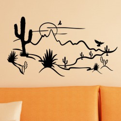 Sticker vue sur le desert et les cactus