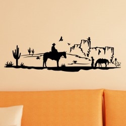 Sticker cow-boys dans le desert