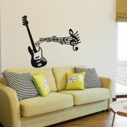Sticker guitar électrique et notes de musique