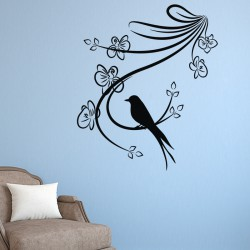 Sticker branche en fleurs et petit  oiseau