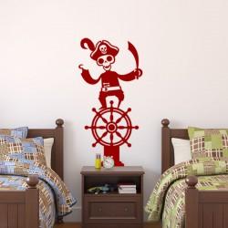 Sticker squelette d'un pirate sur un gouvernail