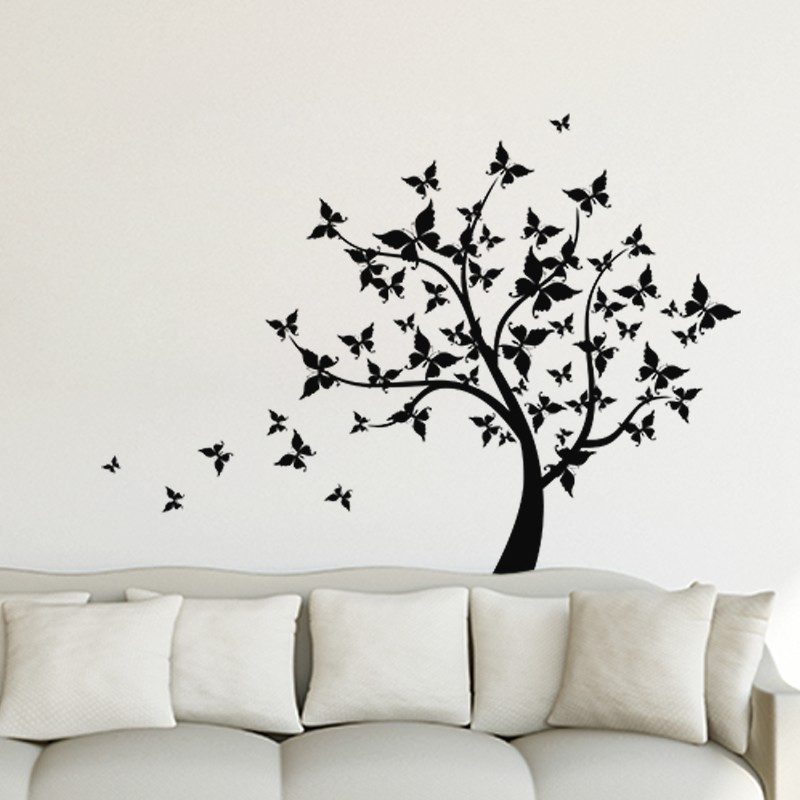 sticker arbre en feuilles papillons pas cher stickers. Black Bedroom Furniture Sets. Home Design Ideas