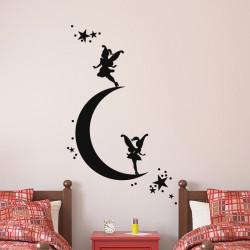 Sticker croissant de lune et petites fées