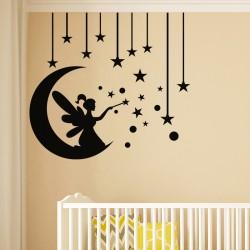Sticker croissant de lune, étoiles et fée