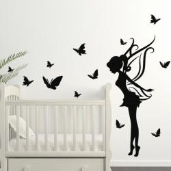 Sticker fée et papillons
