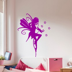 Sticker jolie fée et petites étoiles