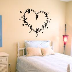Sticker fées et papillons en coeur