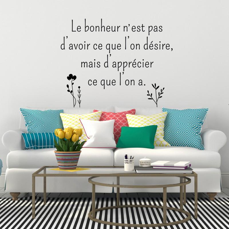 sticker le bonheur n 39 est pas d 39 avoir ce que l 39 on d sire pas cher stickers citations discount. Black Bedroom Furniture Sets. Home Design Ideas
