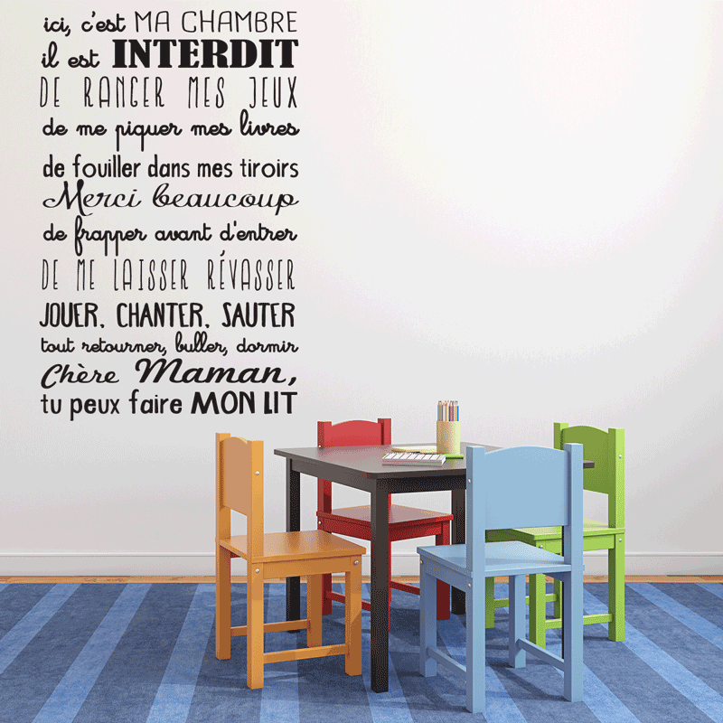 Sticker ici c 39 est ma chambre pas cher stickers citations discount stickers muraux madeco - Stickers muraux citations chambre ...