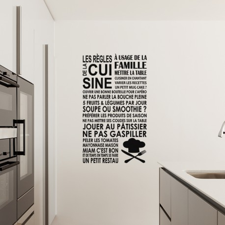 sticker les r gles de la cuisine l 39 usage de la famille pas cher stickers citations discount. Black Bedroom Furniture Sets. Home Design Ideas